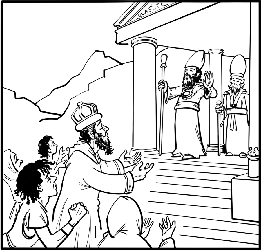 The people go to the temple to ask the priests to cast lots to find out who has offended the sea-gods.