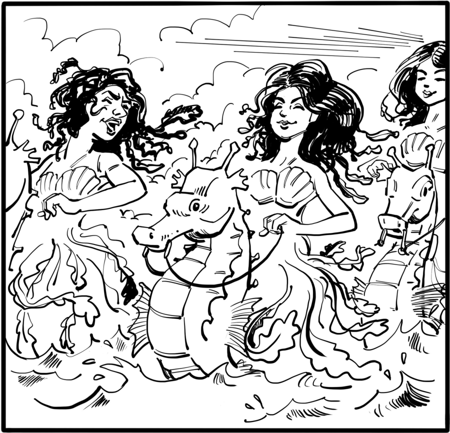 Mystical sea creatures and laughing sea maidens arise from the ocean; they pass by like a dream.