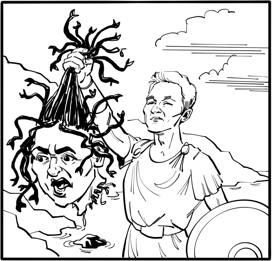 Perseus says he has a Gorgon's head in his bag. He will use it to kill the monster by turning it to stone.