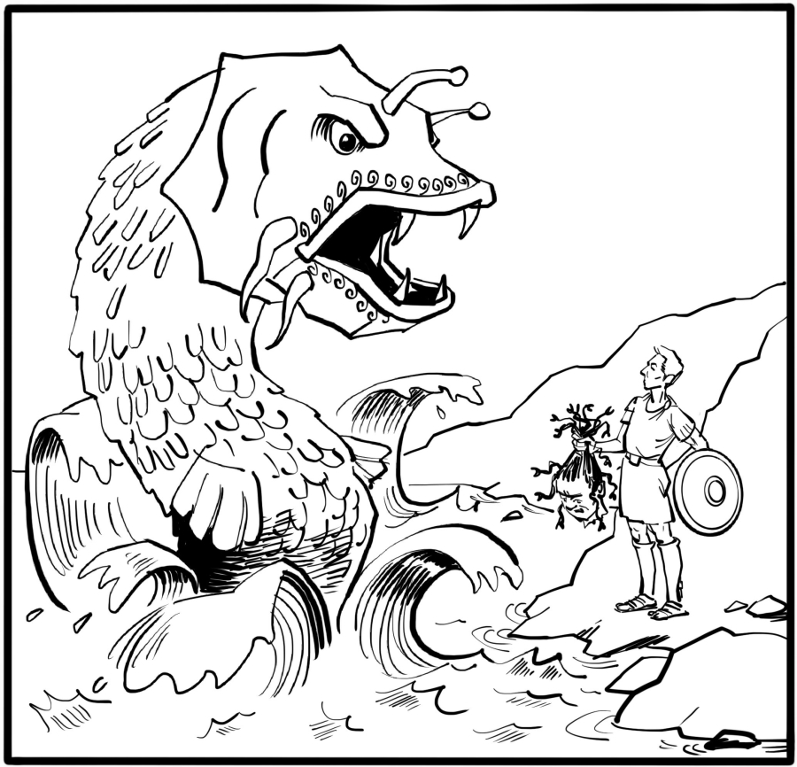 The monster swims towards Andromeda, not suspecting any danger.