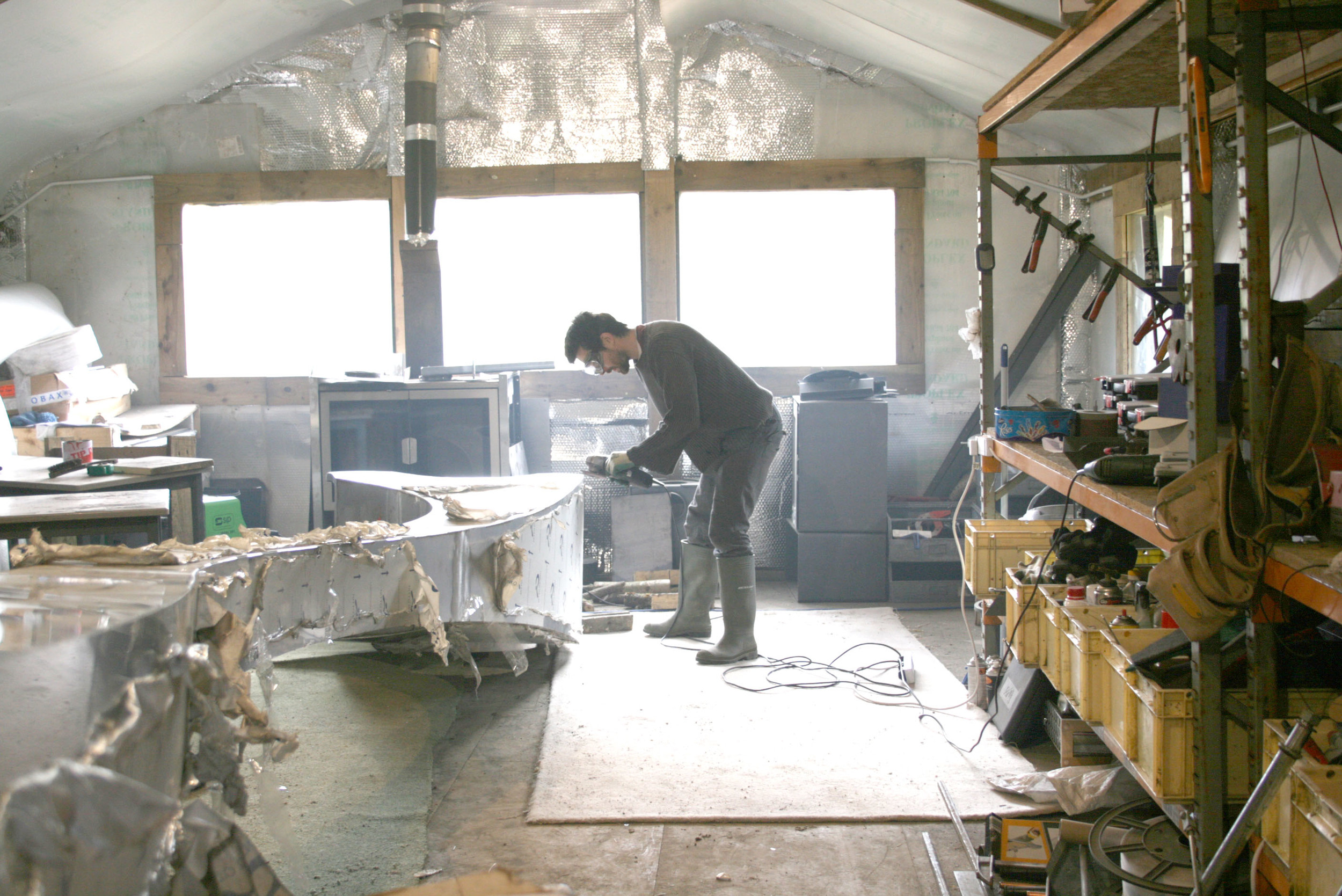 James hard at work in our Scottish Borders Workshop, hand-crafting a unique stove commission.