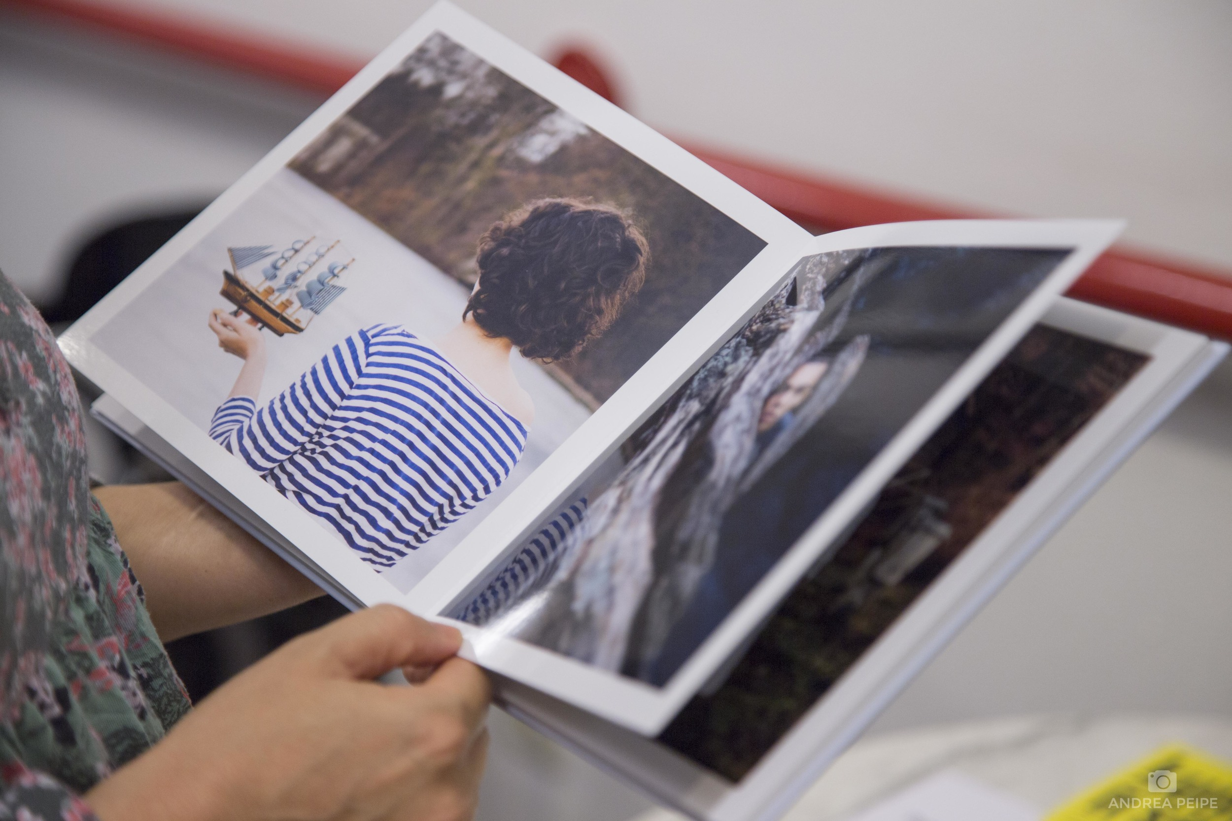"Reading my book ""Visual Stories"" - a limited version of which is also for sale for 90€"