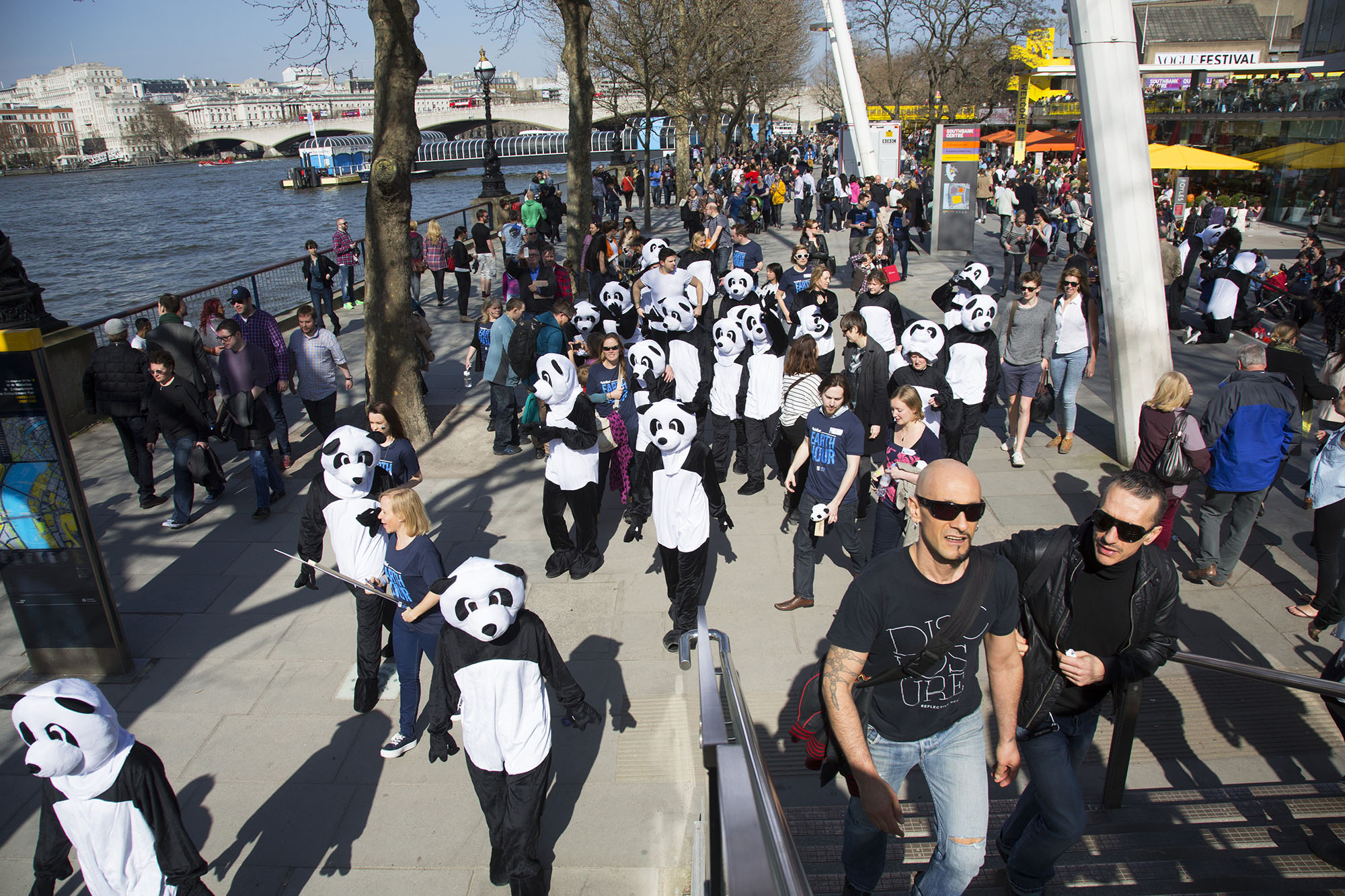 WWF pandas invade the Southbank Centre in London, UK to promote Earth Hour.