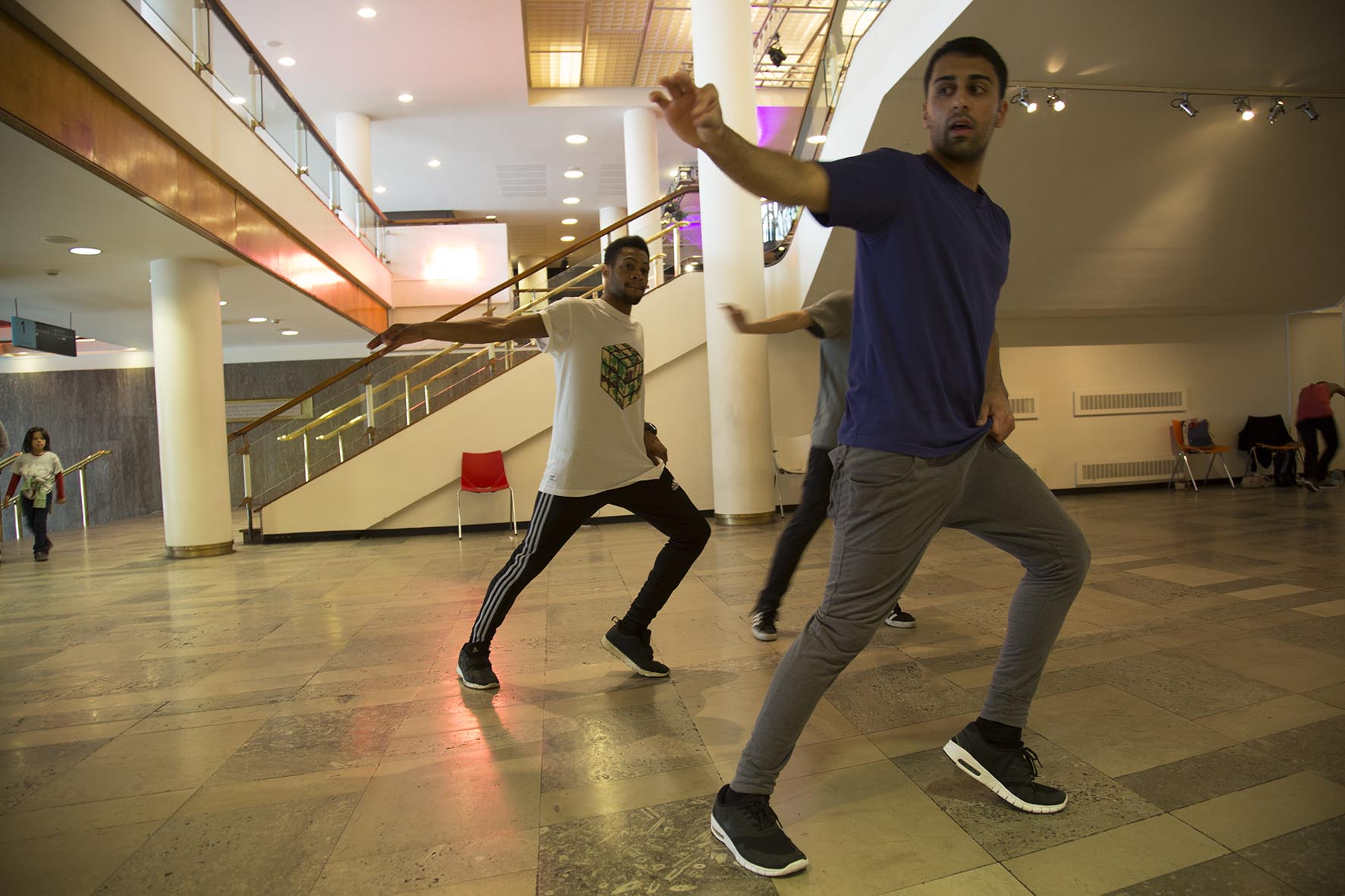 Street dance crew BodyPolitic practise their routine downstairs in the Royal Festival Hall.