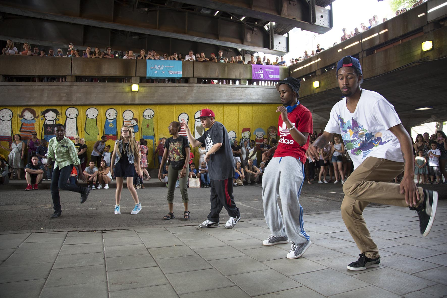 Breakdance-off underneath Hungerford Bridge at the Urban Weekender.