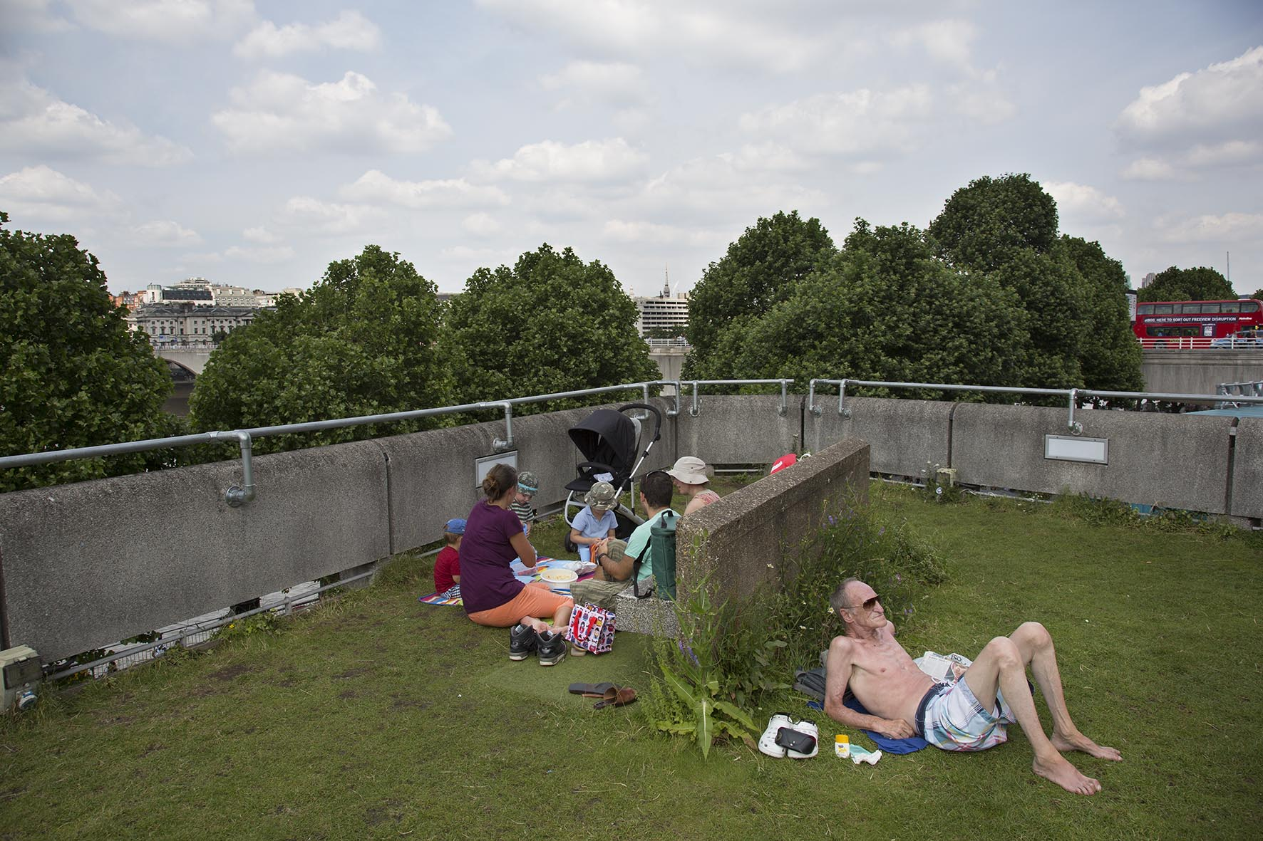 People relaxing up on the Queen Elizabeth Hall Roof Garden.