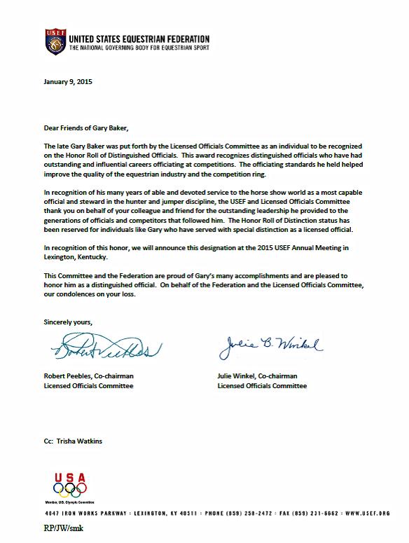 Gary Baker Honor Letter