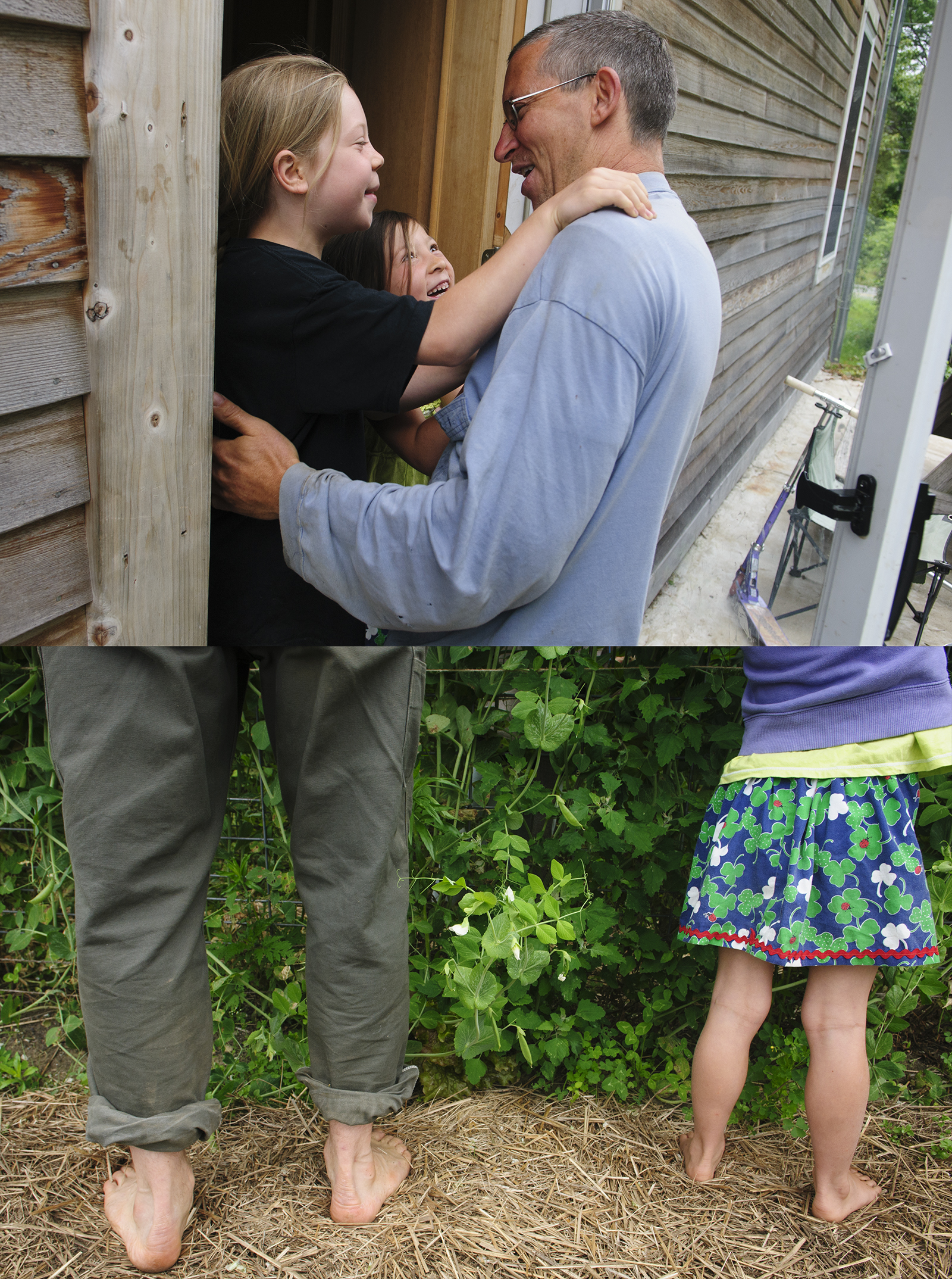 Top: Ed Wazer with daughters (L-R) Sena and Aiyana. Bottom: Shunning footware, Ed and Aiyana pick beans.