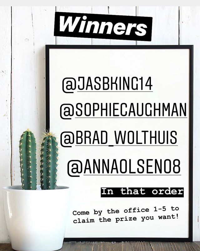 🎊🎉🙌CONGRATULATIONS to our GIVEAWAY WINNERS!🎊🎉🙌 @jasbking14 @sophiecaughman @brad_wolthuis @annaolsen08  You get to pick the prize you want based on the order your name was drawn. DM if you have any questions!