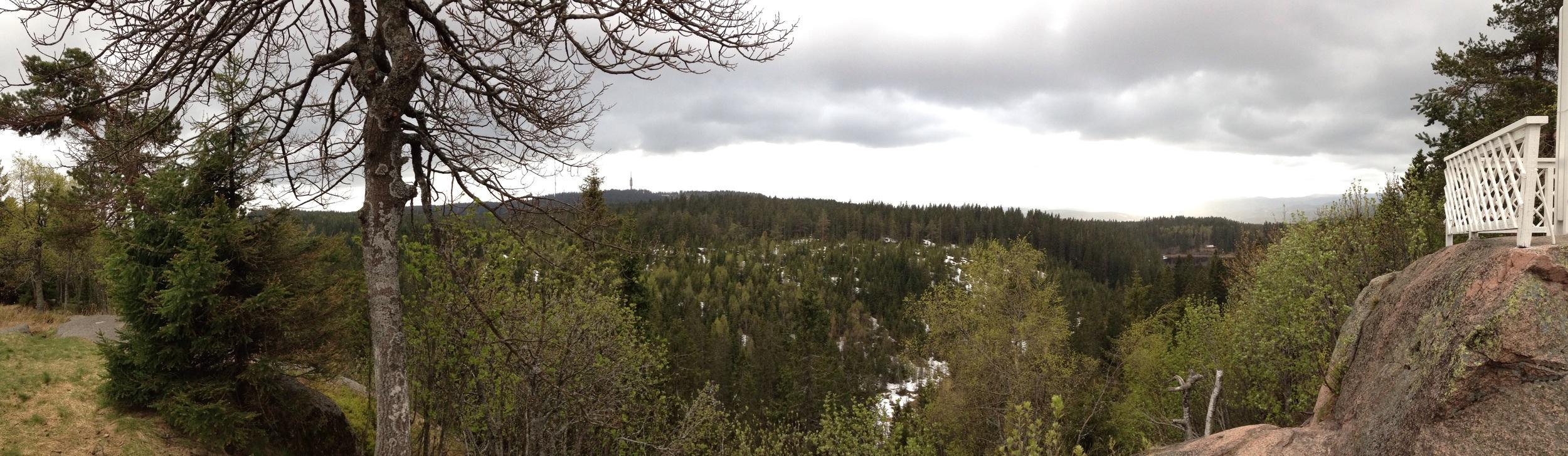 Utsikt fra Skjennungsstuen i vår. Up up and away!