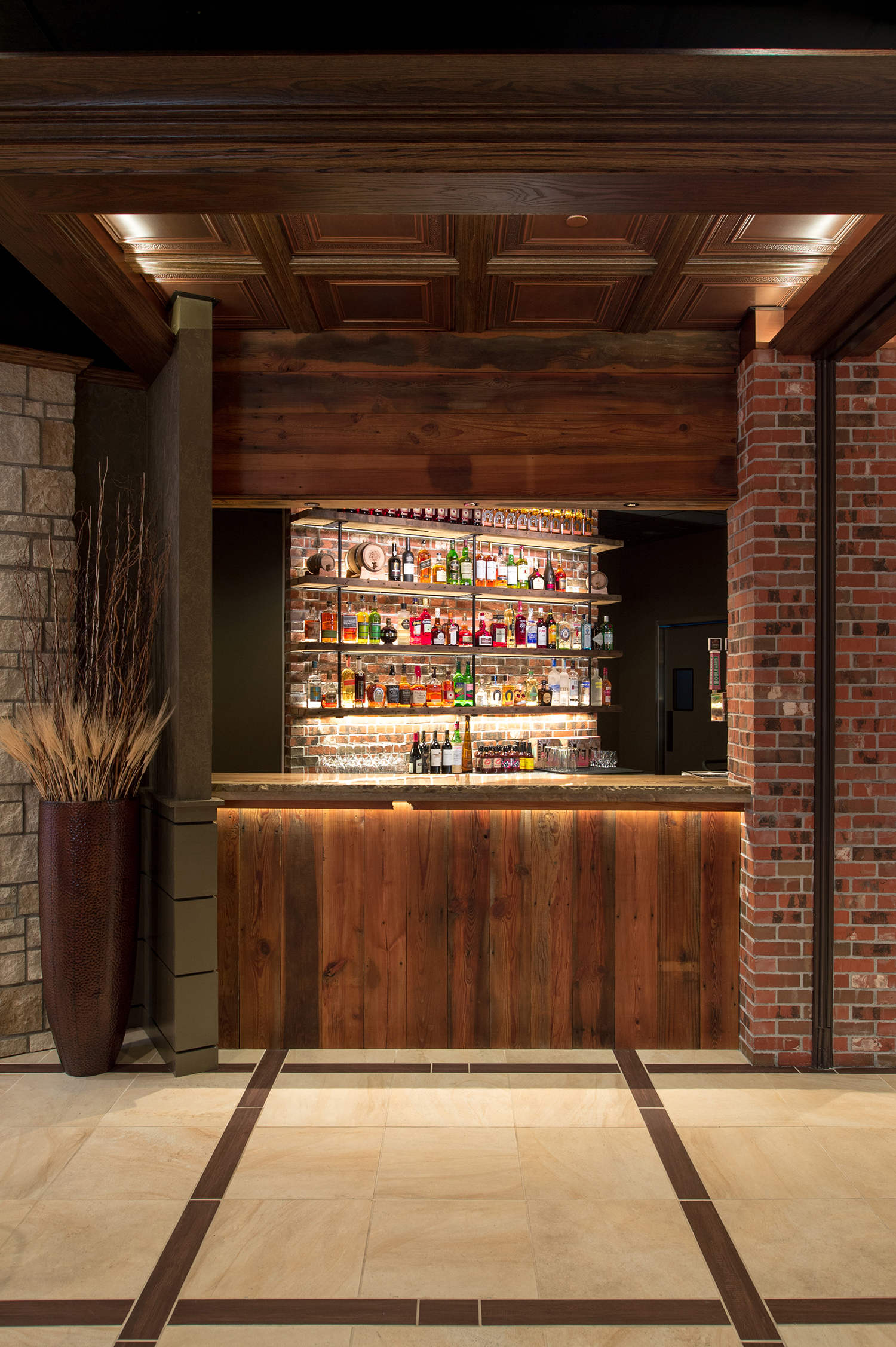 Reclaimed wood bar facade