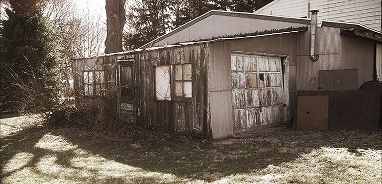 Siegele began work on bottle processing equipment, including the original Bottle Unscrambler, in this 10'x20' shed in the back of machine shop in Frazer, Pa.