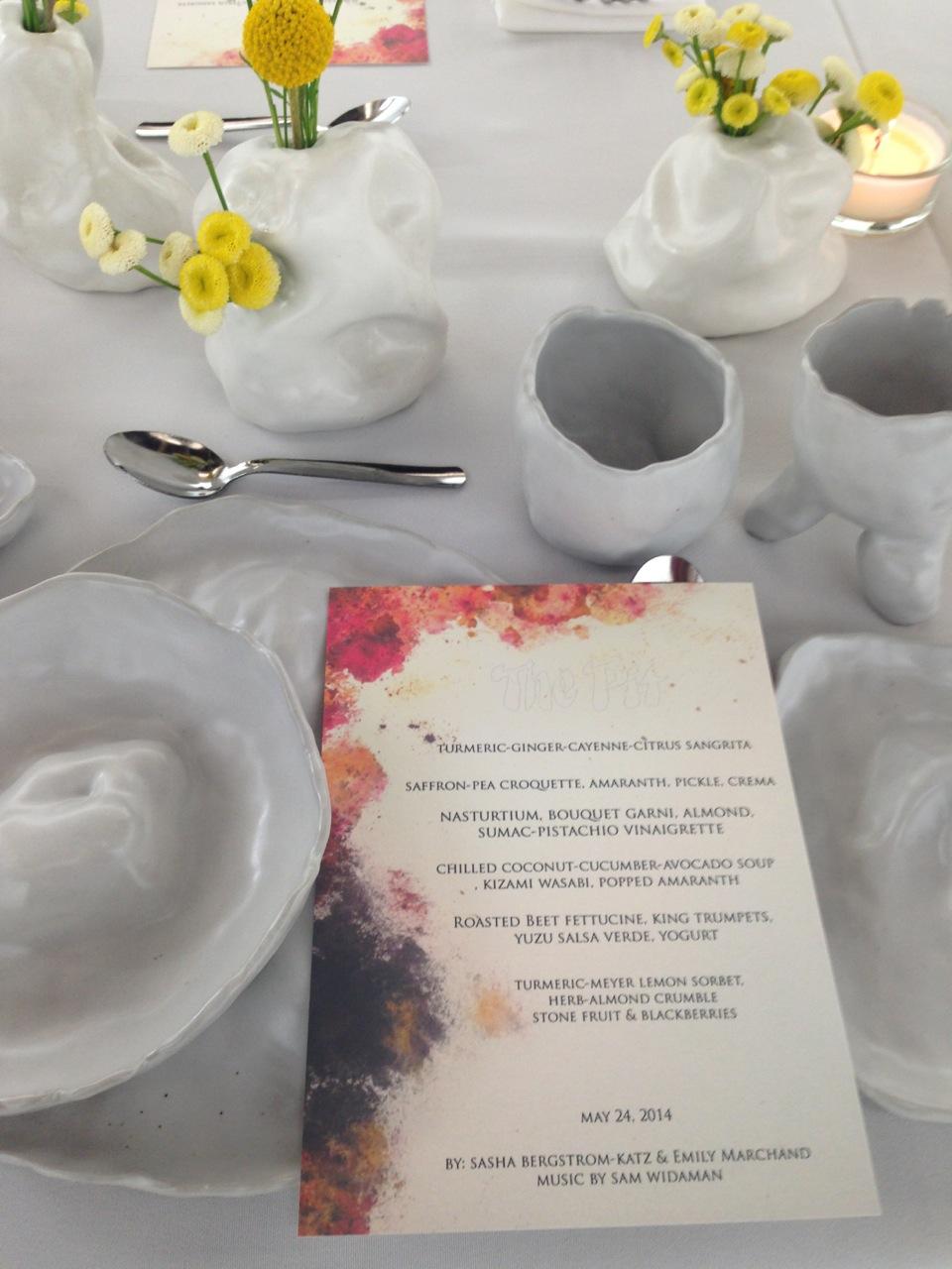 Menu by Emily Marchand, ceramic dinnerware and vases by Sasha Bergstrom-Katz