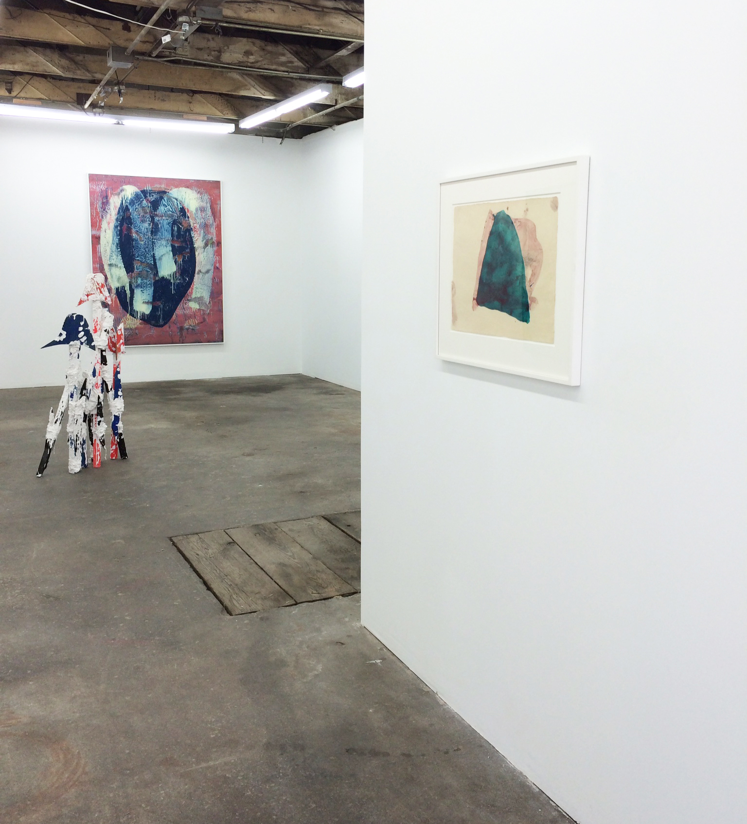 Installation shot Florian Morlat, Jon Pestoni and Mary Weatherford