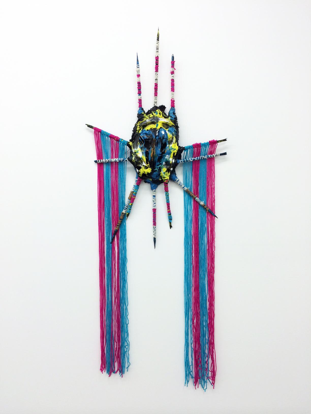Adam D. Miller, Gunner Mask, 2014 plaster, canvas, wood, yarn, enamel and oil