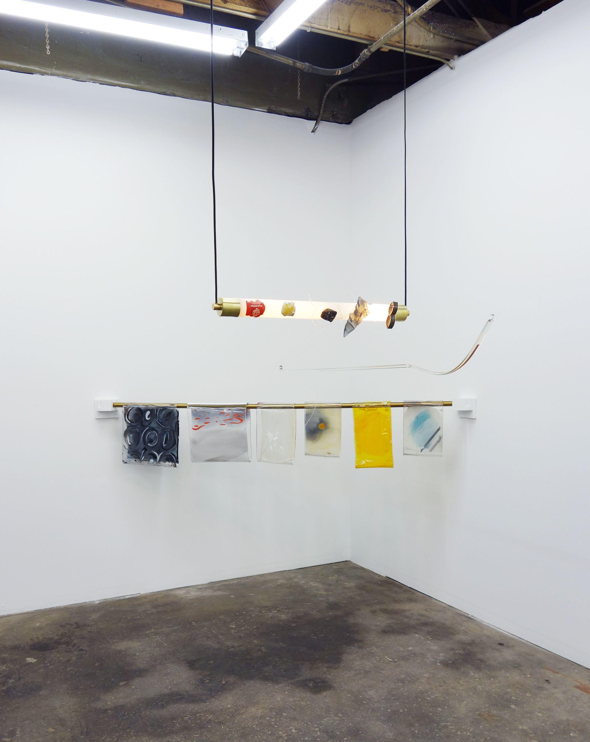 Olivia Booth, (foreground) Al Jazeera Piece, 2015 (background) Glint piece, 2015