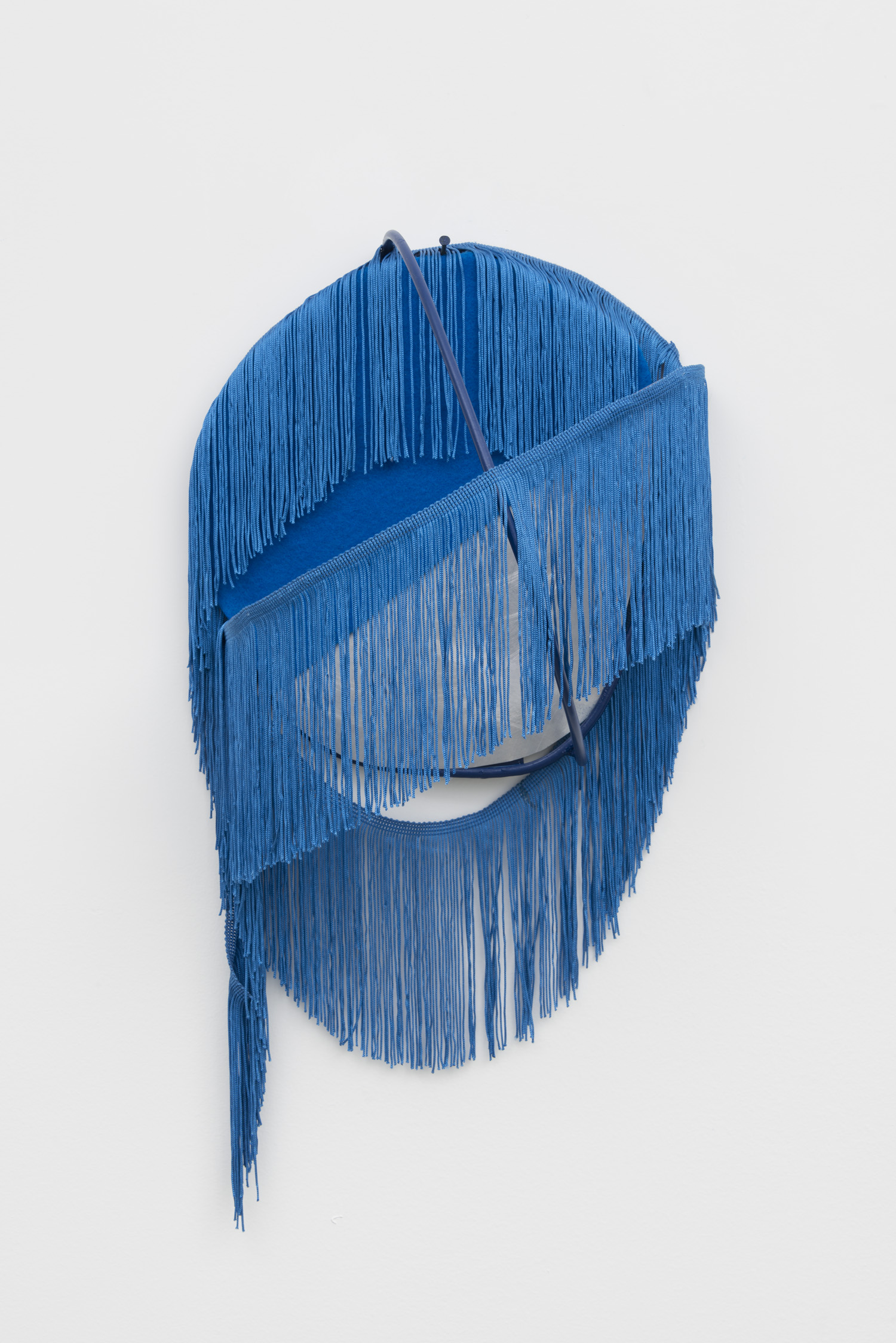 """Blue Fringe, 2016  aluminum, enamel, felt, fringe  21"""" x 11"""" x 8"""""""