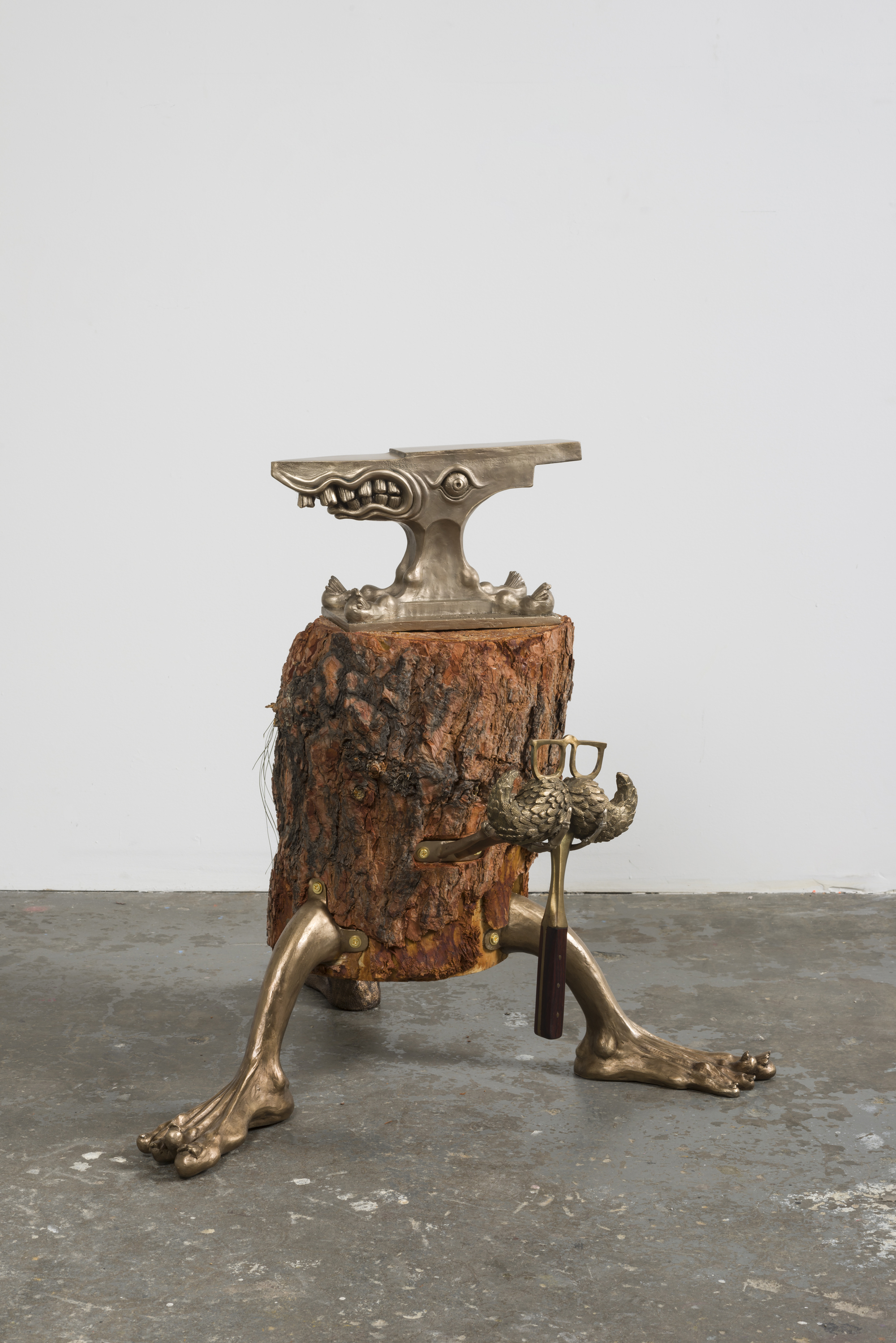 Andrew Sexton  Fantasy Forging Station 3, 2016  Bronze, brass, and wood.  32 x 26 x 26 inches