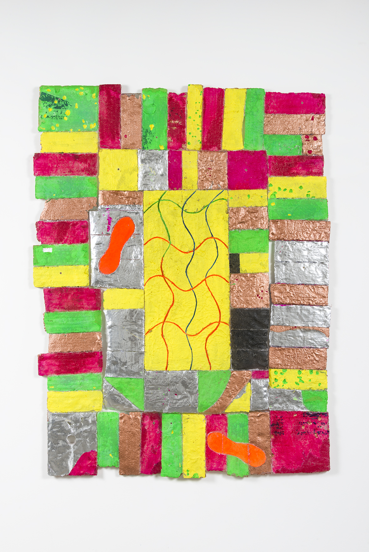 """Nick Kramer - Another Wind of Rug - 2016 - Resin w/ Paint, Foil - 73 x 55 x 1"""""""