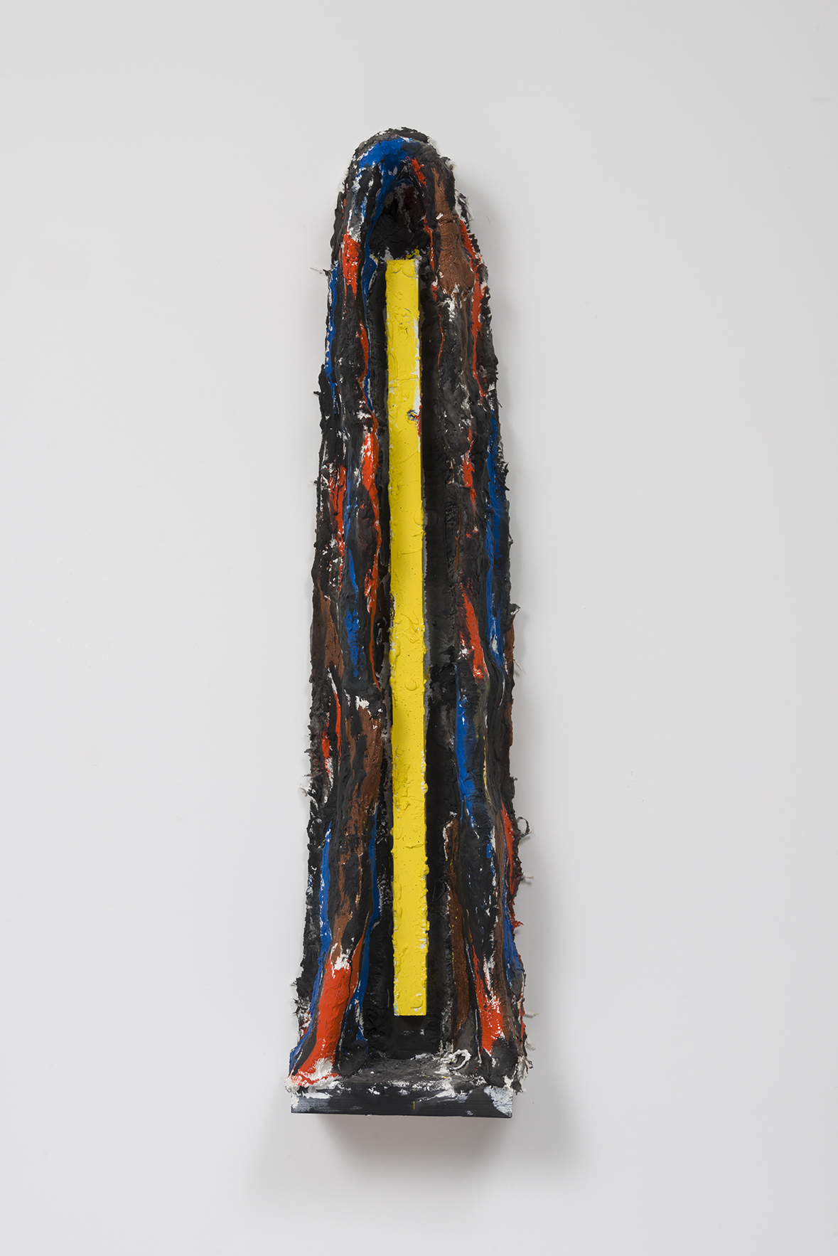 "Florian Morlat - Untitled (Cave 5) - Wood, Plaster, Burlap, Chicken Wire, Oil Enamel - 46 x 11 x 6"""