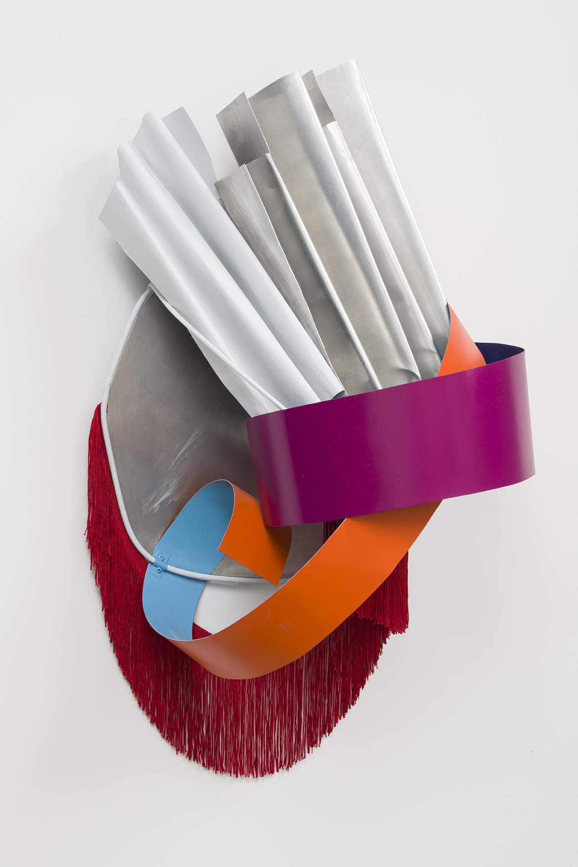"""Nora Shields - Untitled (Metal Relief) - 2016 - Acrylic, Stainless Steel, Fringe, Aluminum - 34   x 16 x 12"""""""