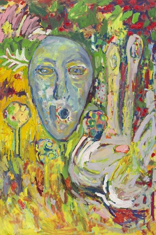 "Peaceful Alien, 2016  Oil on panel  34 x 22"""