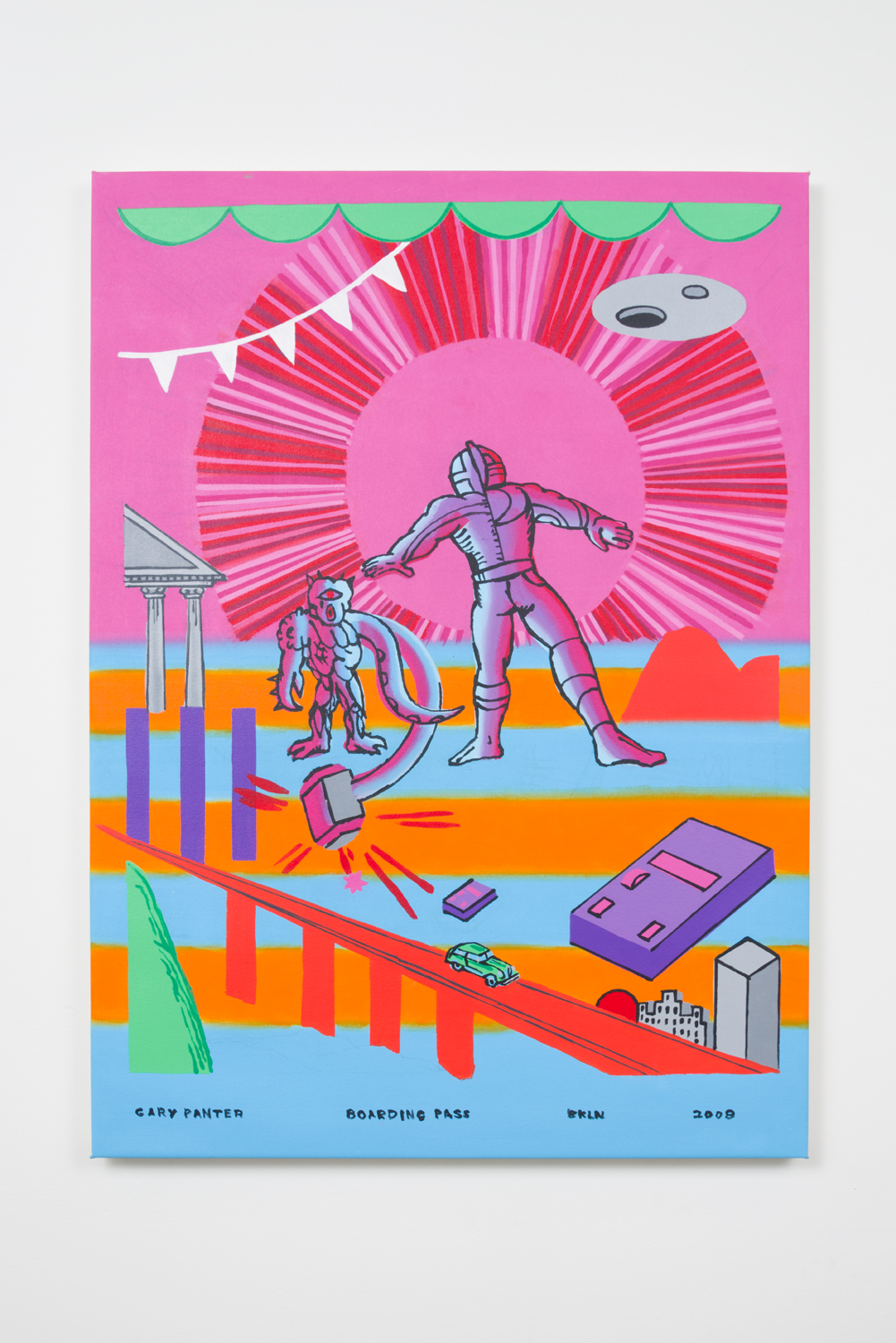 Gary Panter, Boarding Pass, 2008 acrylic on canvas, 48.5 x 35.5 inches