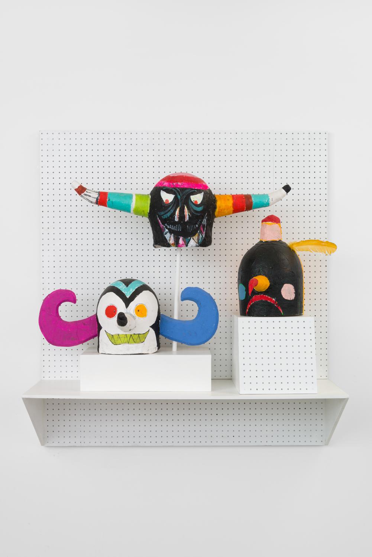Richard Hawkins & Elijah Burgher, Spermcult Artifact, 2015 acrylic on paper-mache, 13 x 37.5 x 10.5 inches each