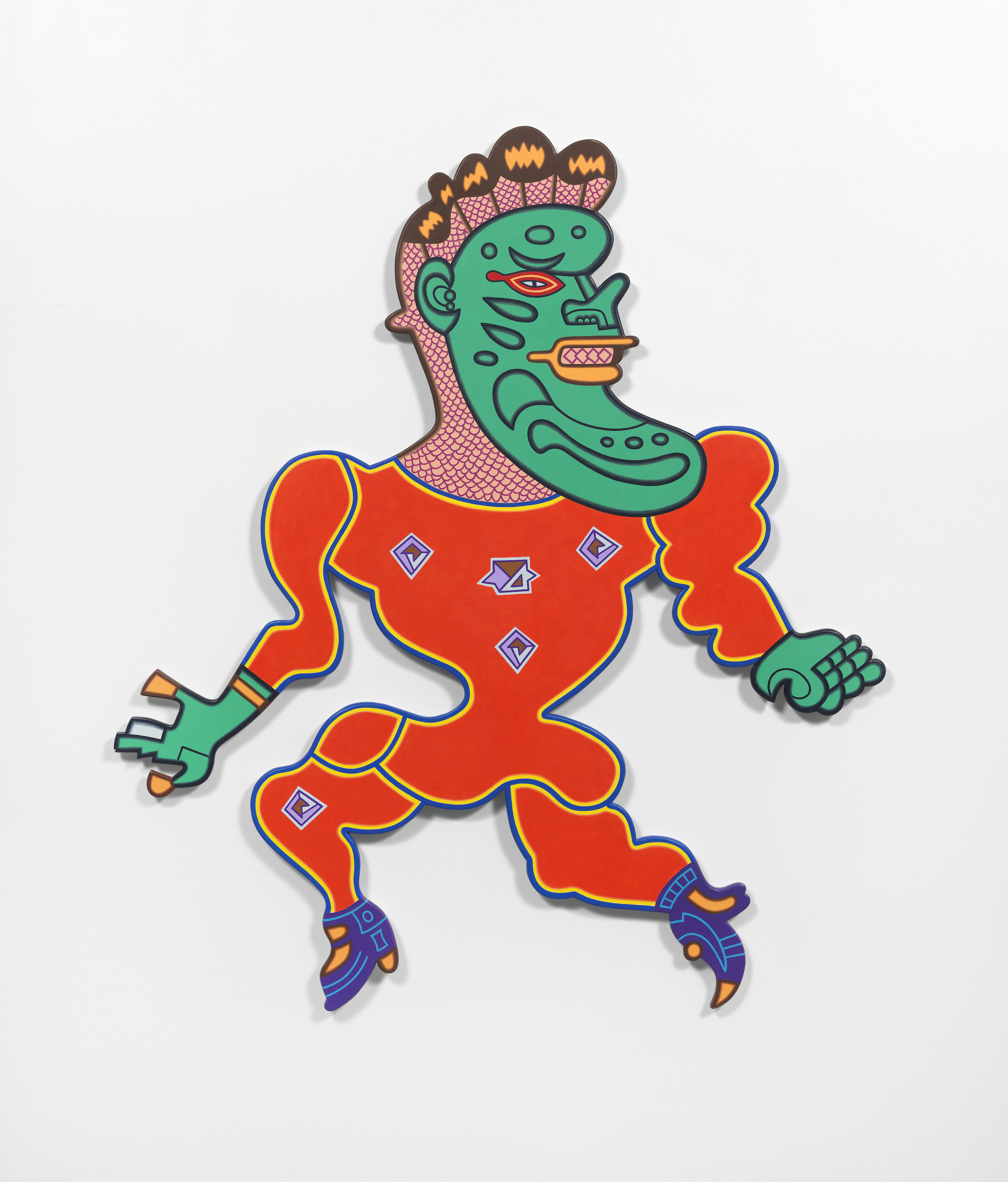 Karl Wirsum, Cabaza Big Head Pickle Face, 2002, Acrylic on shaped wood, 41 x 48 x 2 inches