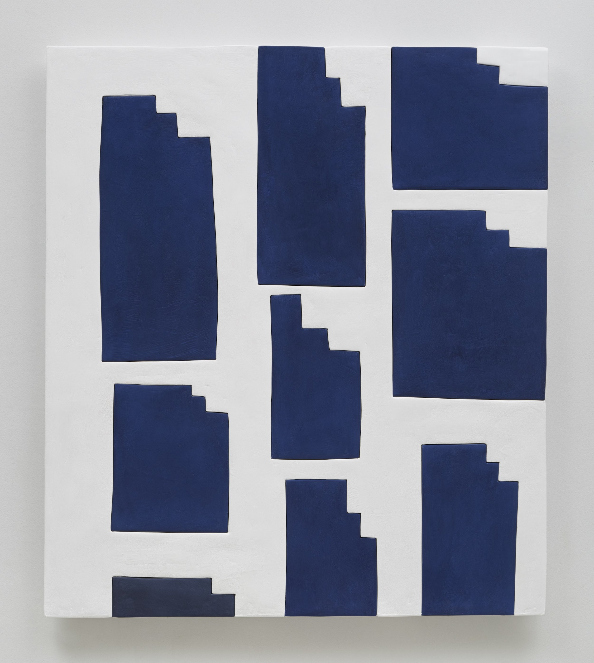Sadie Benning, Animation blue and white, 2015 medite, aqua resin, casein and acrylic 41 x 36 inches