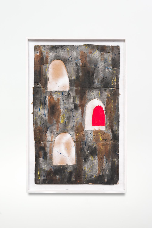 Untitled, 2017  Oil enamel on cardboard in artist frame  40.5 x 26.25 x 1.75 inches