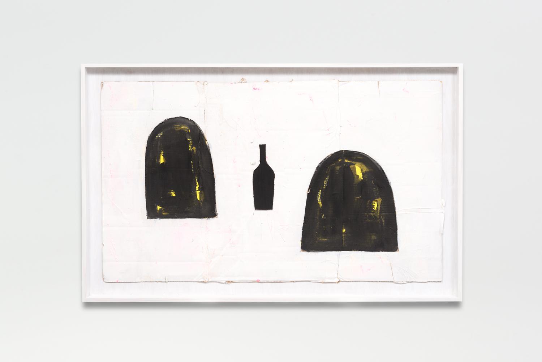 Untitled, 2017  Oil enamel on cardboard in artist frame  26 x 40.25 x 1.75 inches