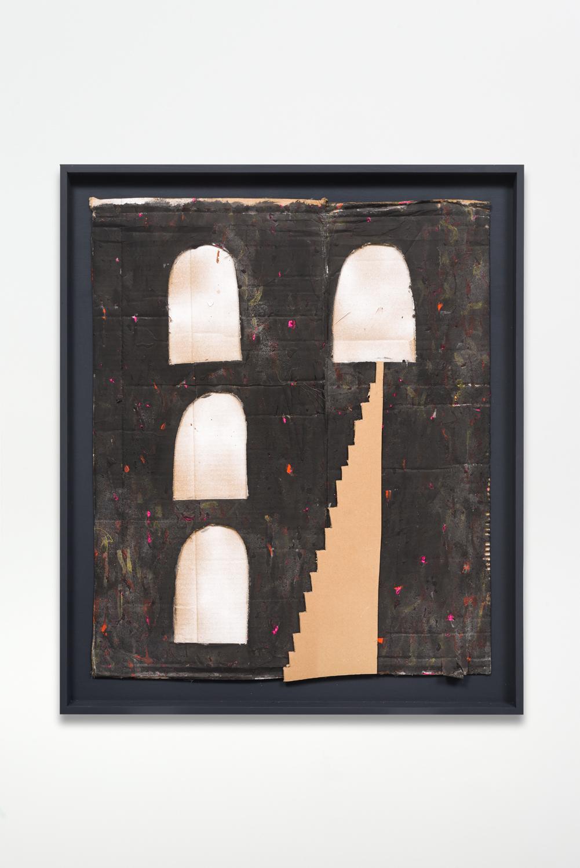 Untitled, 2017  Oil enamel on cardboard in artist frame  40.25 x 28 x 1.75 inches