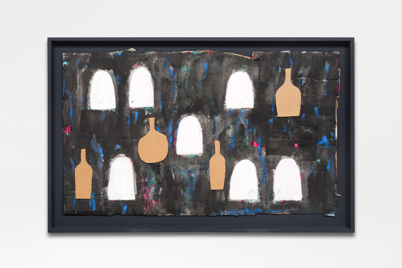 Untitled, 2017  Oil enamel on cardboard in artist frame  26.25 x 40.25 x 1.75 inches