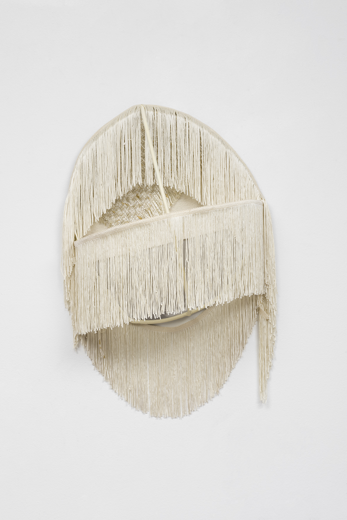 And She was She (Cream), 2016  Welded stainless steel, acrylic paint, aluminum, felt, and fringe  19 x 14 x 7 inches