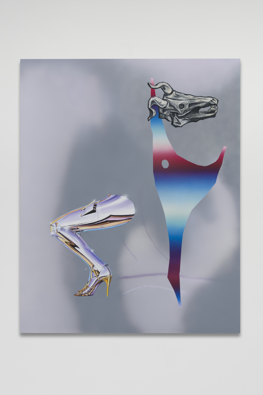 Dani Tull, Uncanny Valley (leg 1, Sorayama) Oil and acrylic on canvas 60 x 48 inches