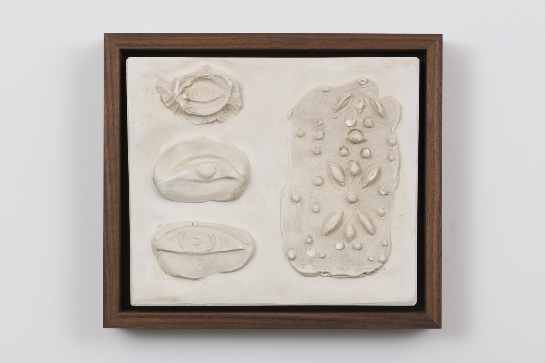 Rosha Yaghmai, Sight Tile, 2016 Plaster in walnut frame 7 3/4 x 9 x 1 3/4 inches