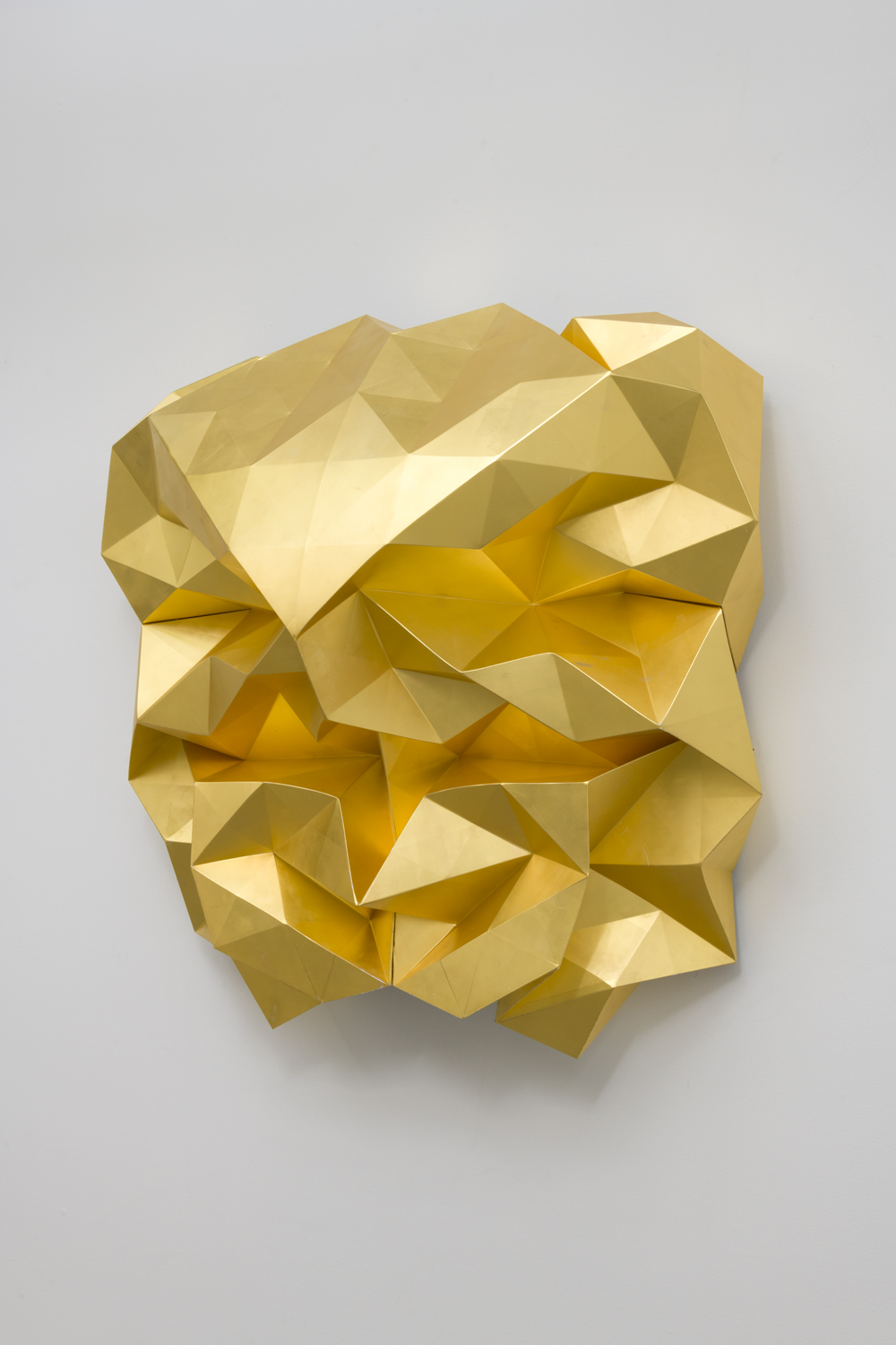 Matthew Monahan, Solaris, 2017 gold leaf and aluminum 42 x 39 x 18 inches