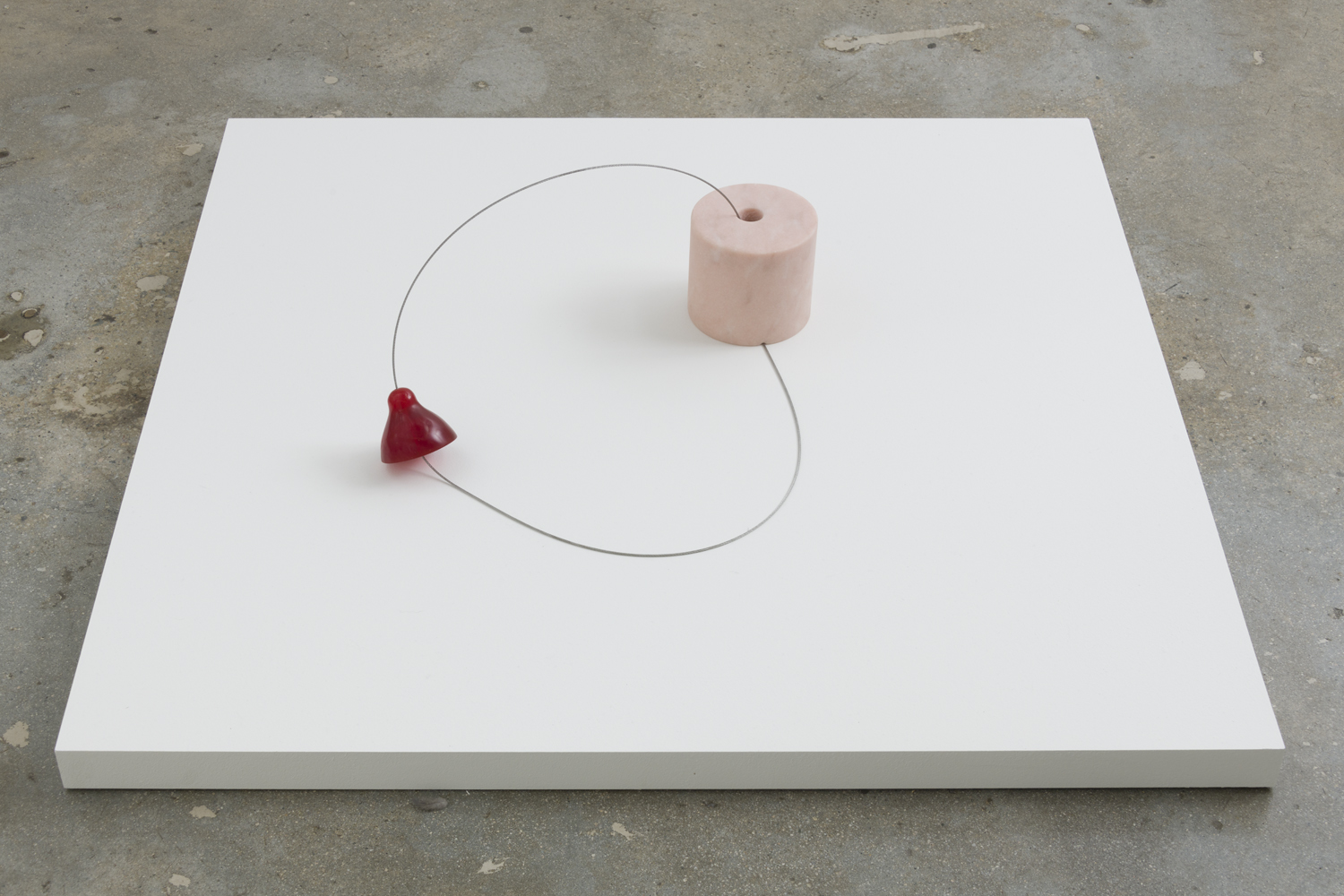 Nevine Mahmoud, Control Panel 2 (Cherry), 2017 marble, stainless steel cable, aluminum, pigmented resin 16 x 16 x 7 inches