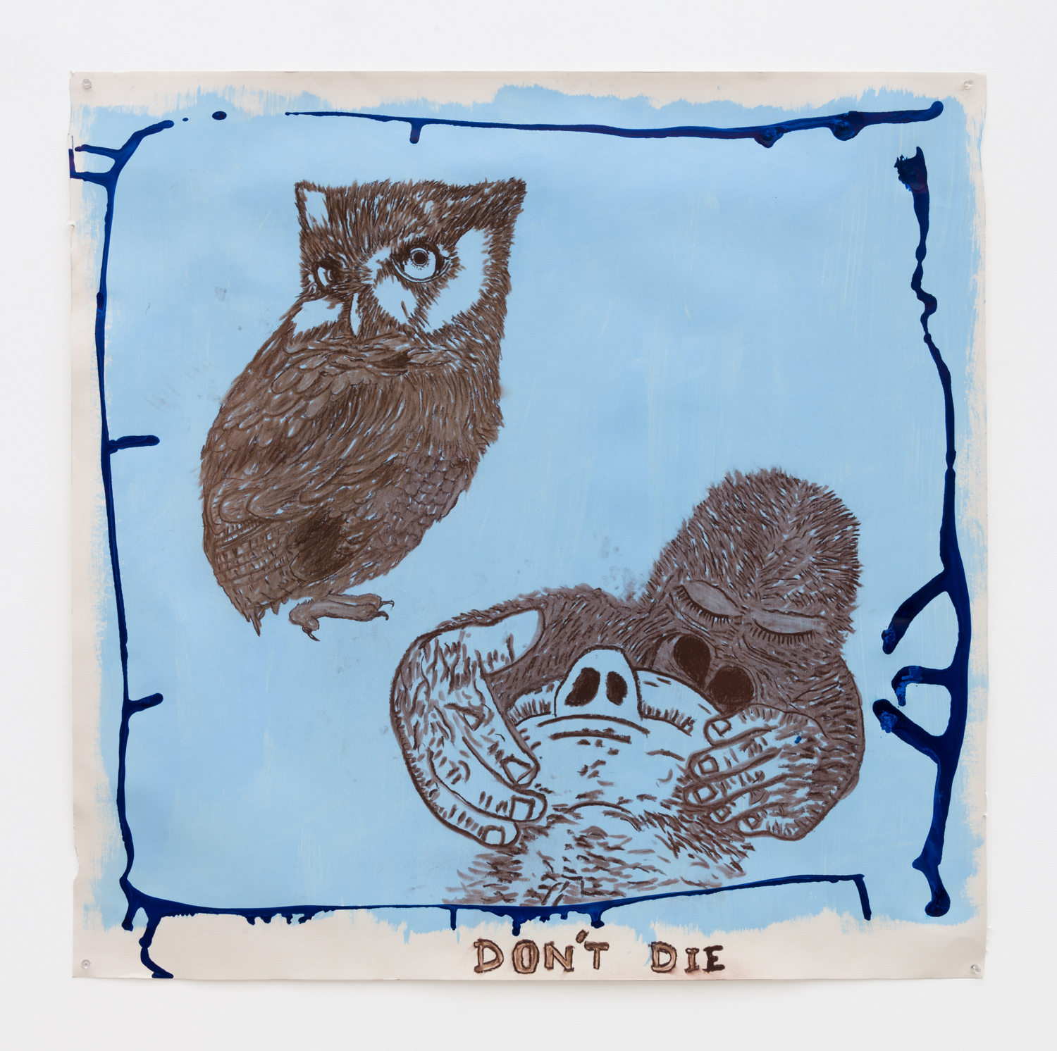 Don't Die, 2017  Acrylic and pastel on paper  36 x 36 inches