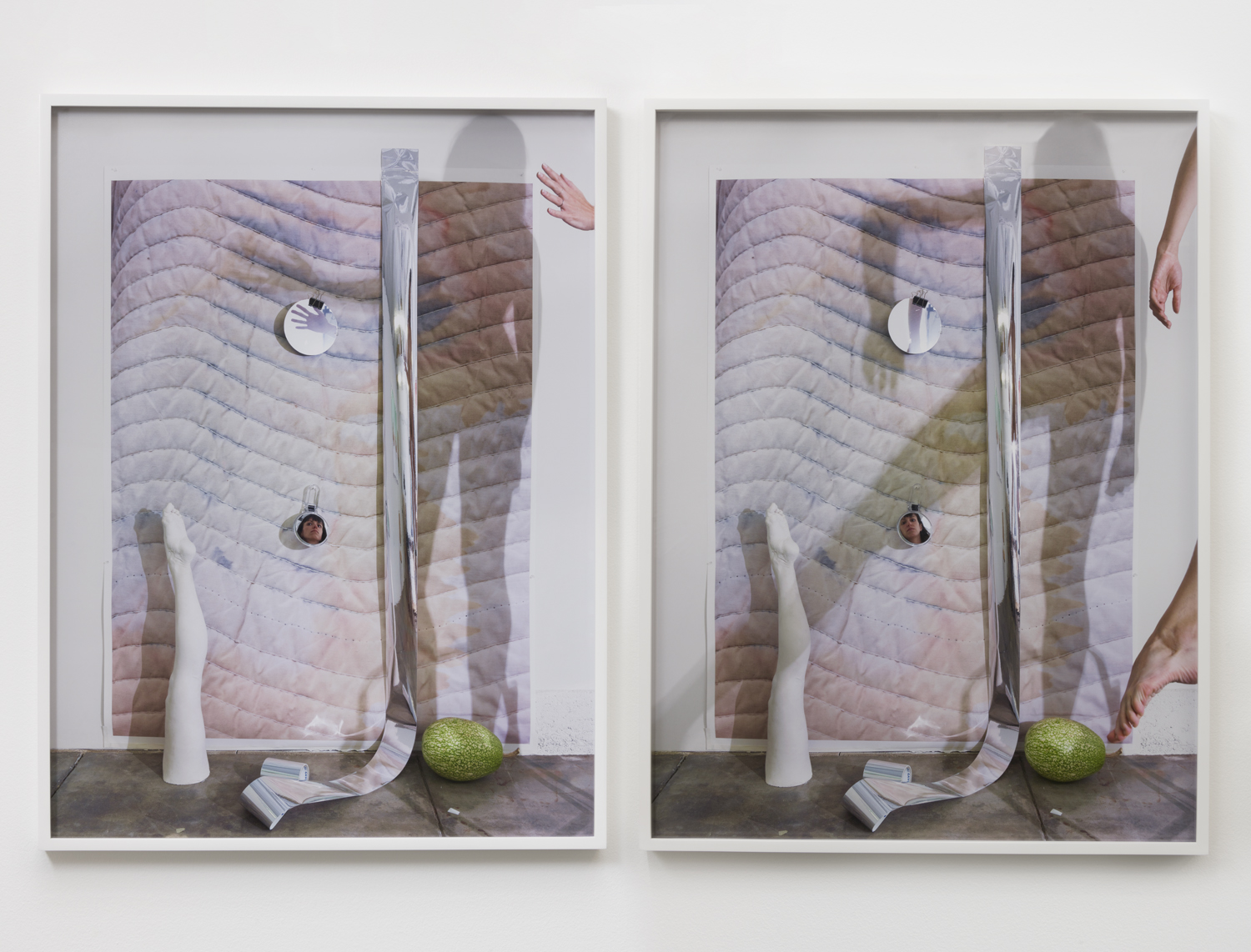 Heather Rasmussen  Untitled diptych (Shadow play on blanket wall with leg, squash and mirrors), 2017  2 pigment prints  32 x 24 inches each print