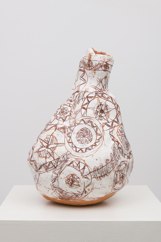 Jennifer Rochlin  Ropes and Shield Patter, 2018  Glazed Ceramic  19 x 13 x 13 inches