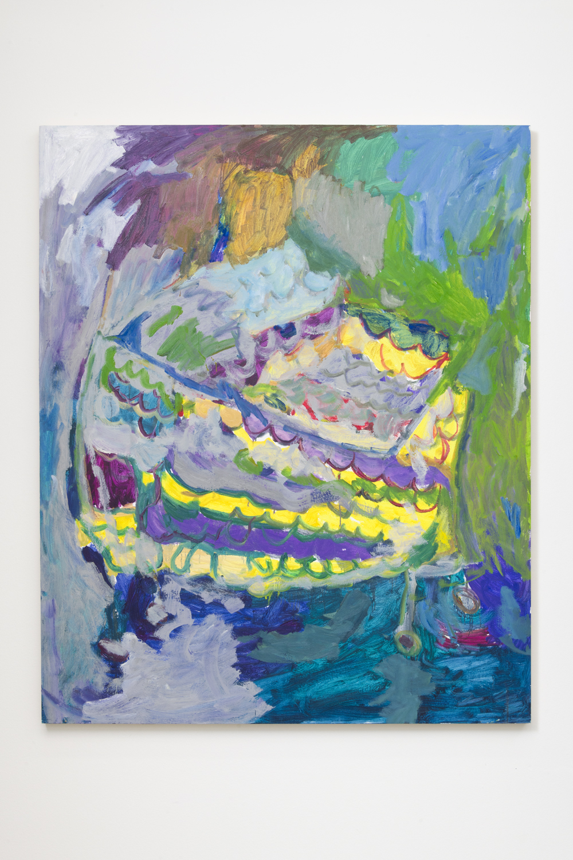 Adrianne Rubenstein    Shopping Cart , 2018  Oil on panel  56 x 47 inches