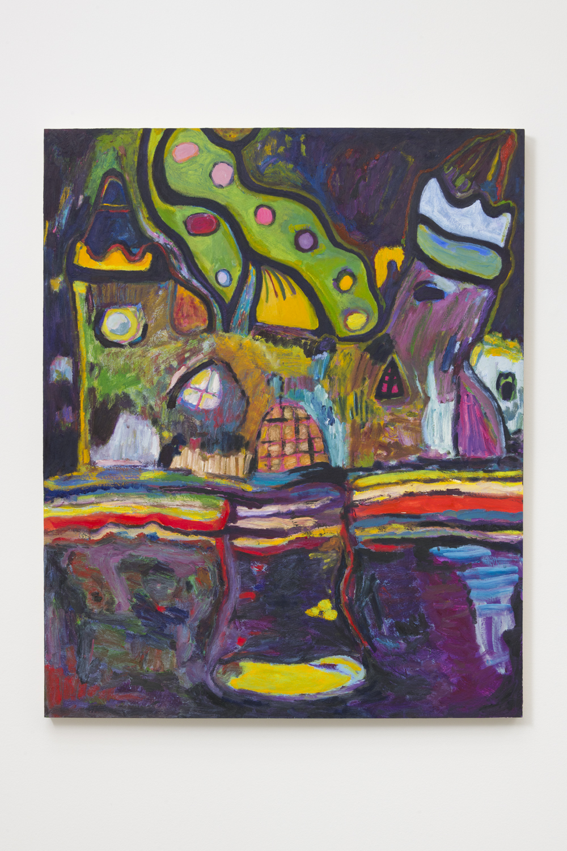 Adrianne Rubenstein    Happy Ending , 2018  Oil on panel  47 x 36 inches
