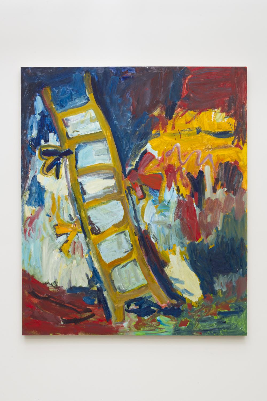 Adrianne Rubenstein    Ladder , 2018  Oil on panel  56 x 47 inches