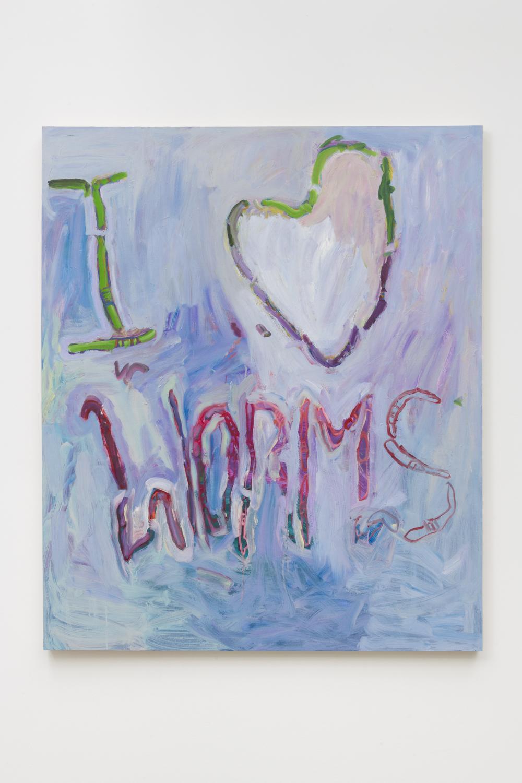 Adrianne Rubenstein    I Love Worms , 2018  Oil on panel  56 x 47 inches