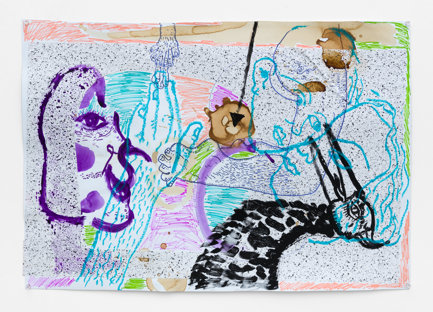 Benjamin Weissman & Ravi Jackson  Untitled, 2017  Pastel, pencil, marker and watercolor on paper  20.5 x 30 inches