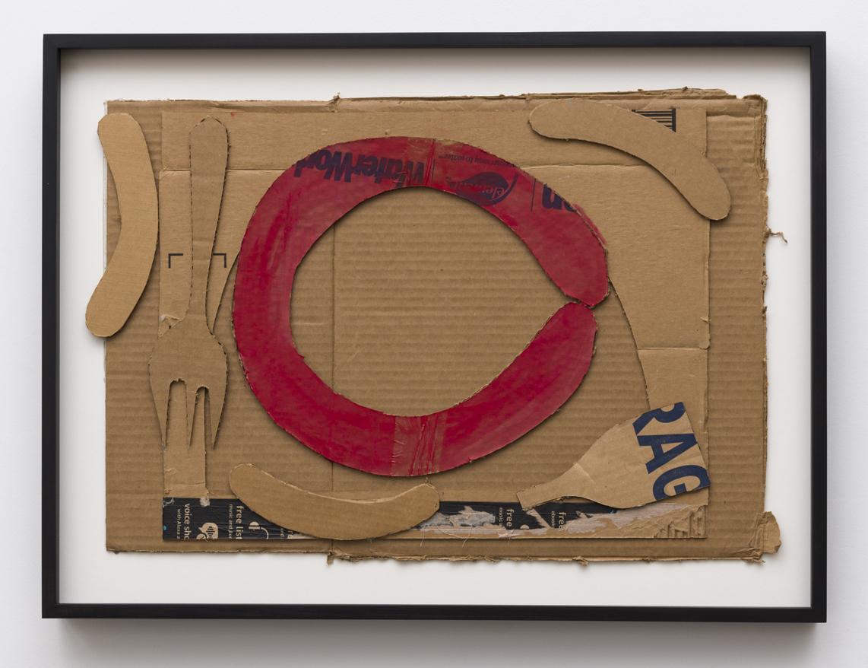 Eins, zwei, drei…. , 2018  collage of found cardboard with enamel  27 x 20 inches