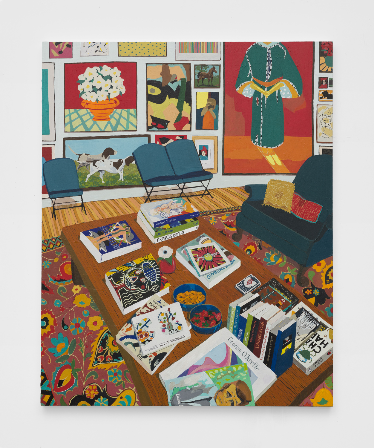 Interior with Books and Paintings   2019  Acrylic on canvas  60 x 48 inches