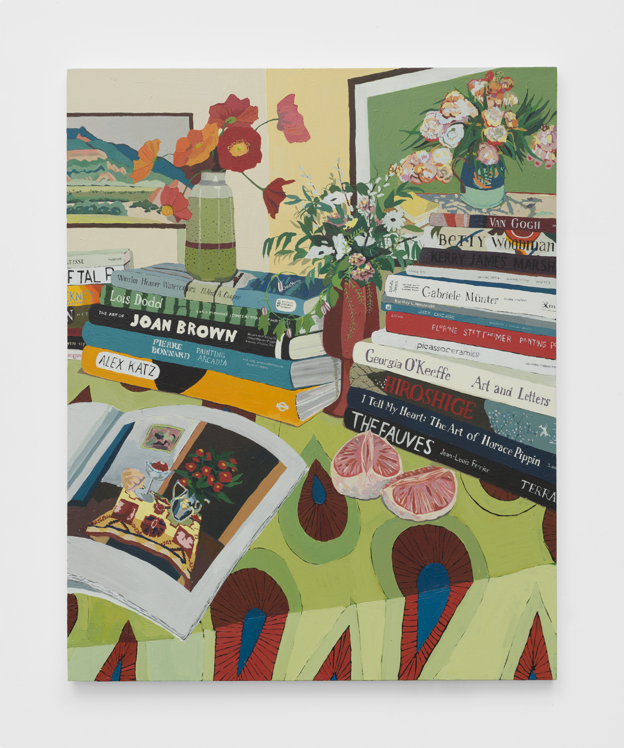 Tables, Flowers, and Books   2019  Acrylic on canvas  60 x 48 inches